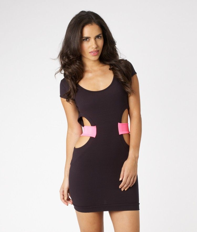 80s Cut Out Mini Dress Black And Pink Style Me Mine Dresses