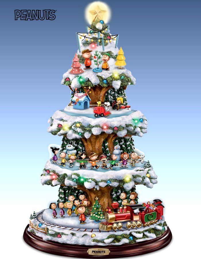 a peanuts christmas tabletop tree with lights music and motion rotating train skaters and snoopy - Peanuts Christmas Decorations