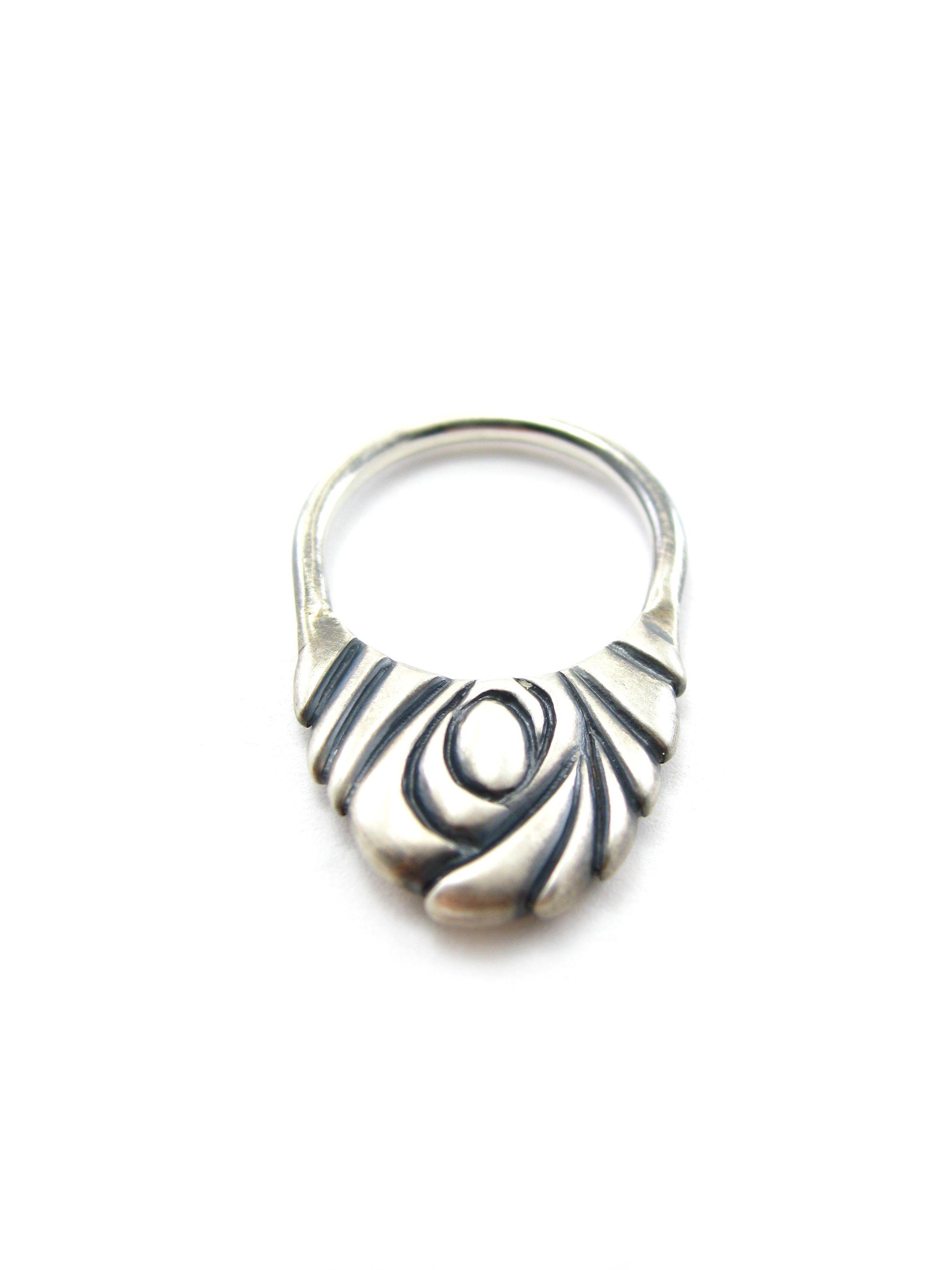 Swirling vortex ring - oxidized sterling silver - Sharon Z Jewelry