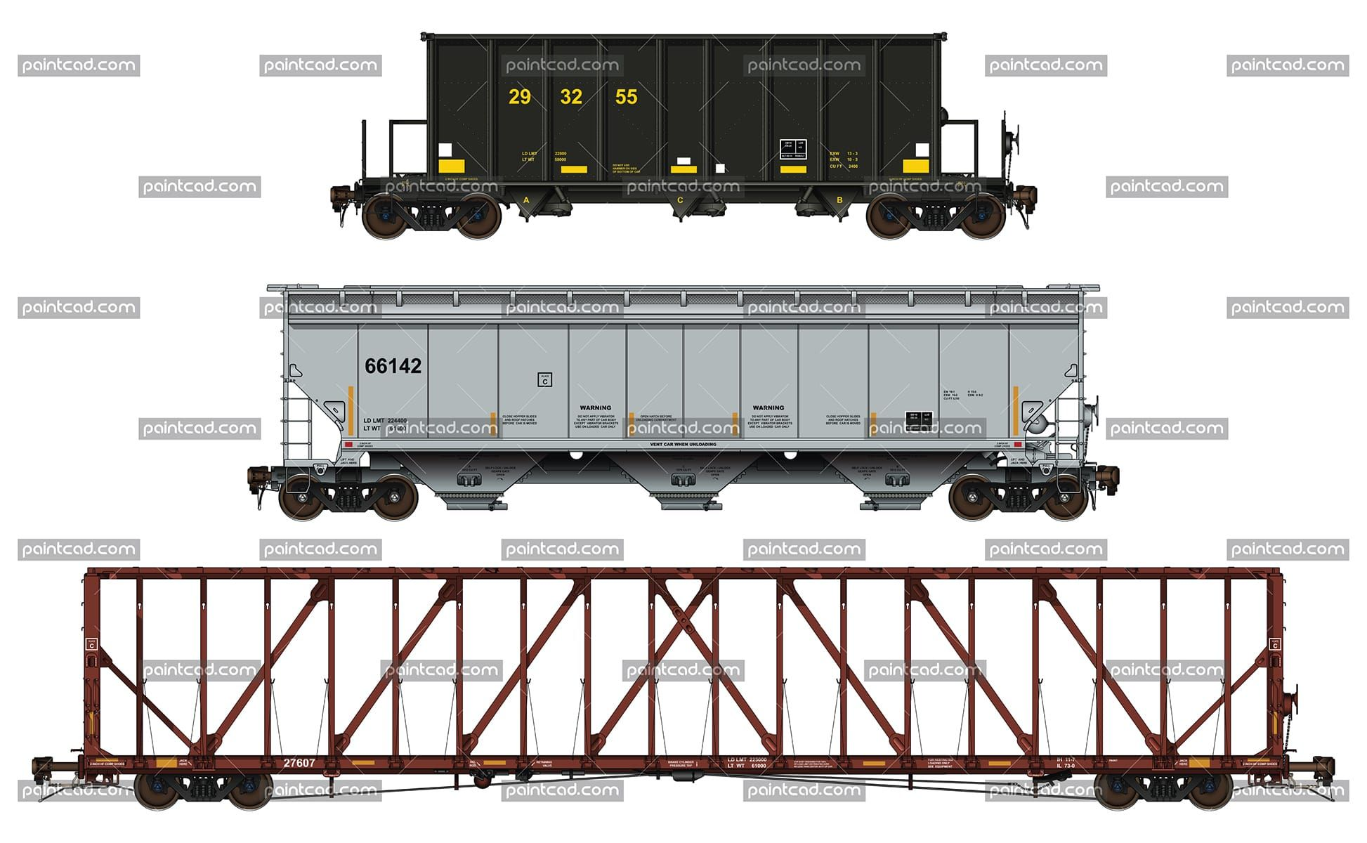 Covered And Open Top Hoppers Center Partition Freight Car Model