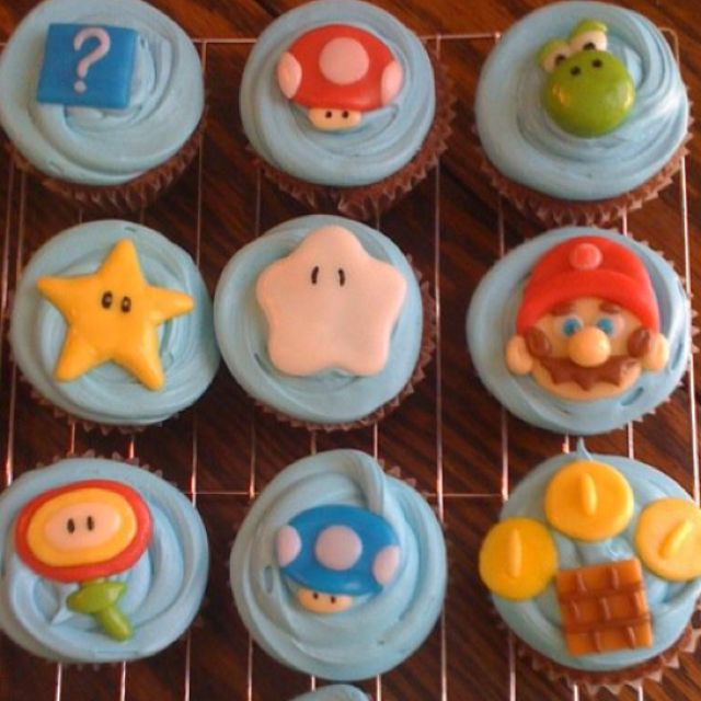 Super Mario Bros cupcakes.  All made from candy like tootsie tools, airheads, caramels.