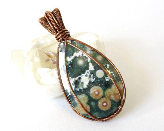 Copper Wire Wrapped Pendant, Ocean Jasper Wire Weave Pendant ...
