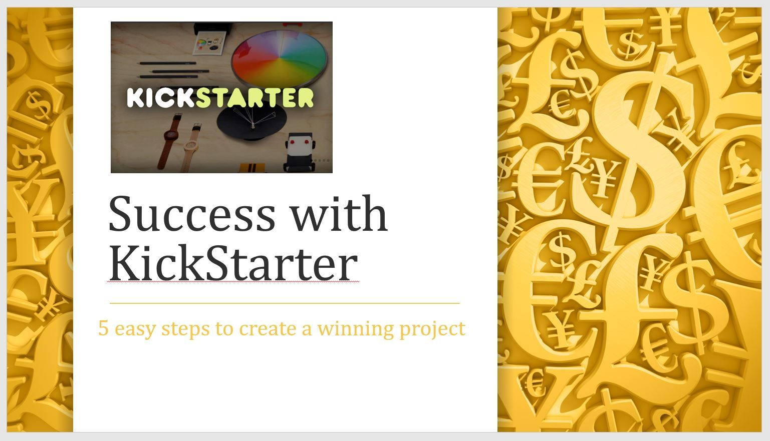 Success With KickStarter Web template design, Branding
