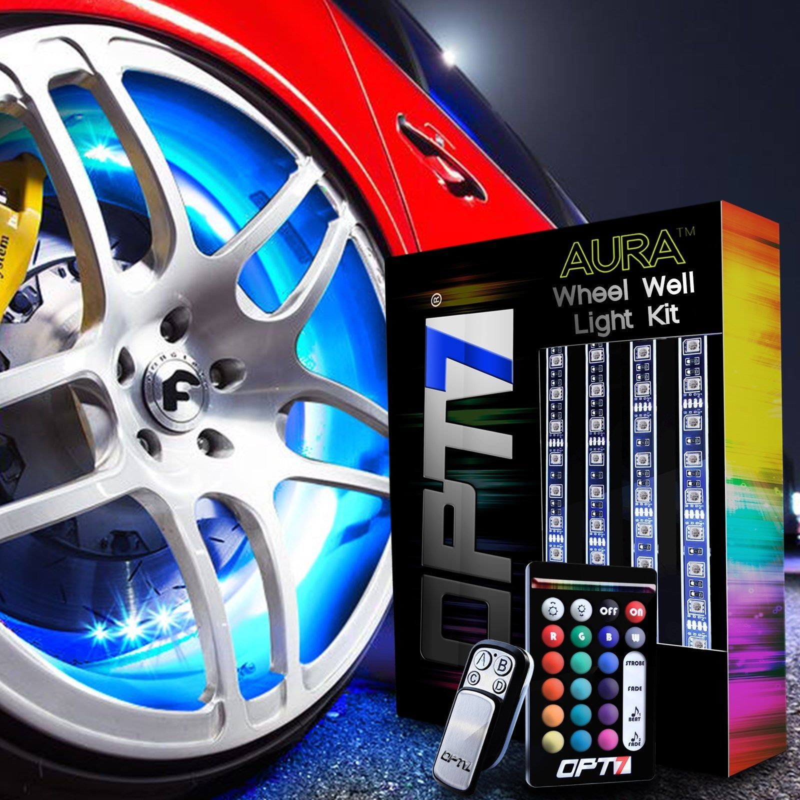 Car color kit - Opt7 All Color Wheel Well Led Light Kit 4pc Custom Accent Neon Strips Rim Tire