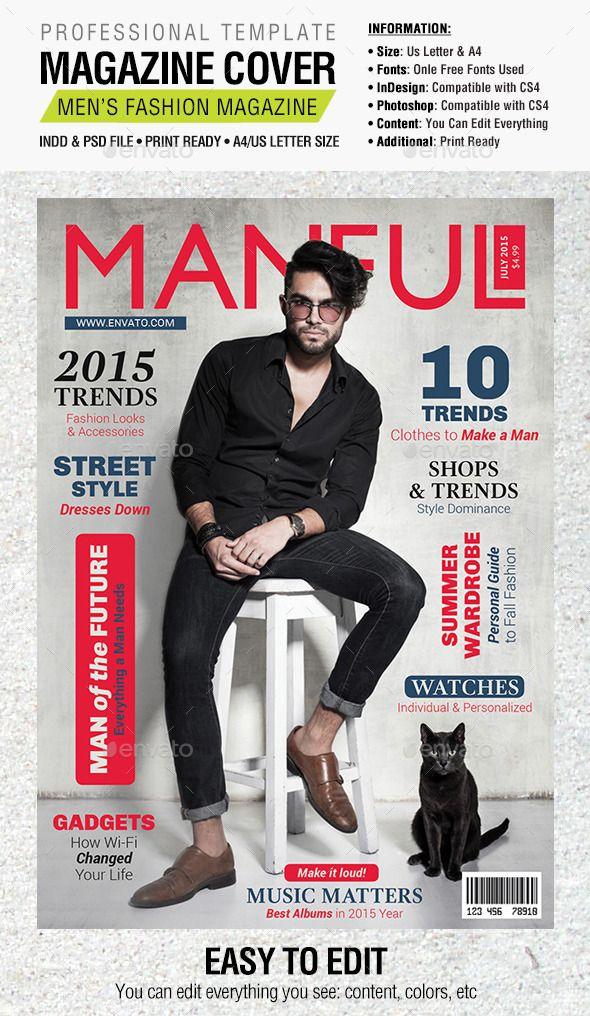 Manful Fashion Magazine Cover Cover Page Design Magazine