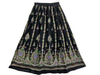 Long Skirt Black Lehenga Print Full Ankle Length Boho Sequin Skirt India 36 Inch: Clothing $24.95