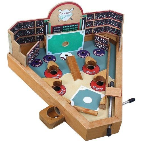 Pinball Baseball Game Wooden Tabletop Sport Games Spring Loaded Custom Wooden Baseball Game Toy