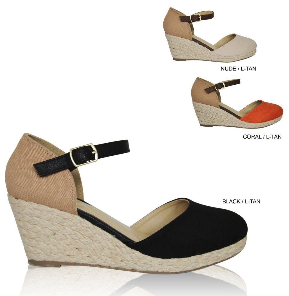 Black enclosed sandals - Details About Women S Closed Toe Espadrille Ankle Strap Platform Mid High Wedge Sandals Bolsa