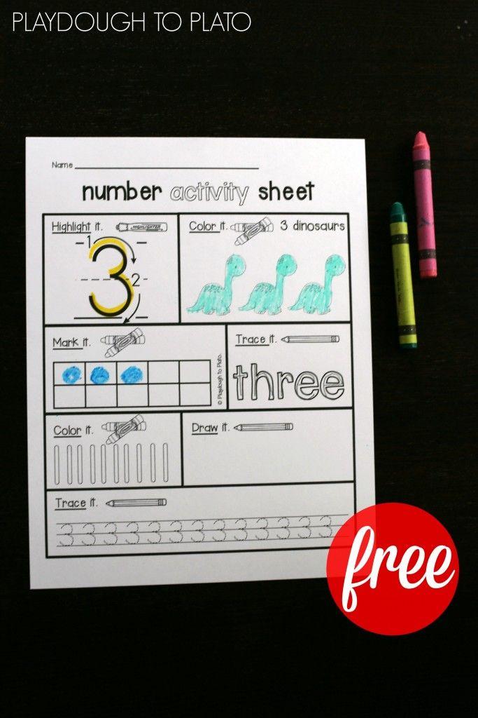Number Activity Sheets | Kindergarten math activities, Number ...