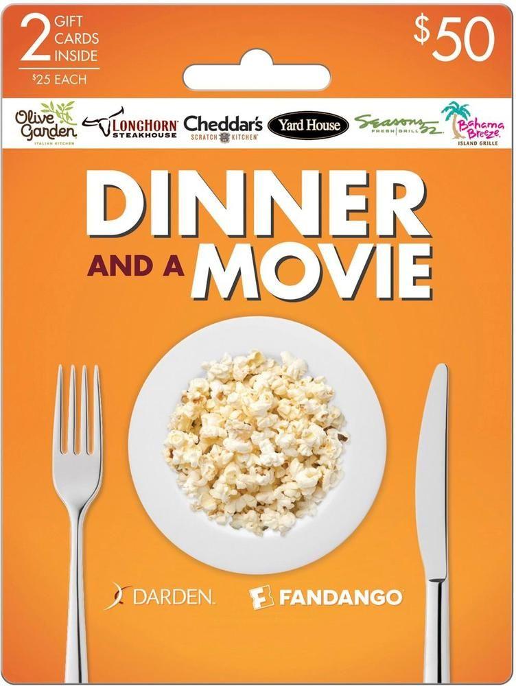 Darden 50 Dinner Movie Gift Card Pack Darden Fandango Daam 17 50 Best Buy In 2021 Dinner And A Movie Movie Gift Fandango