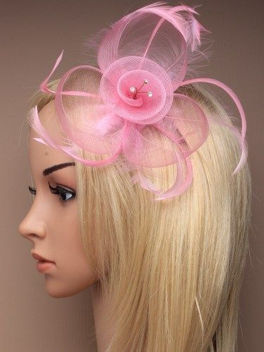 Pastel net   feather crystal fascinator on comb Wedding Races ... 18926e8d339