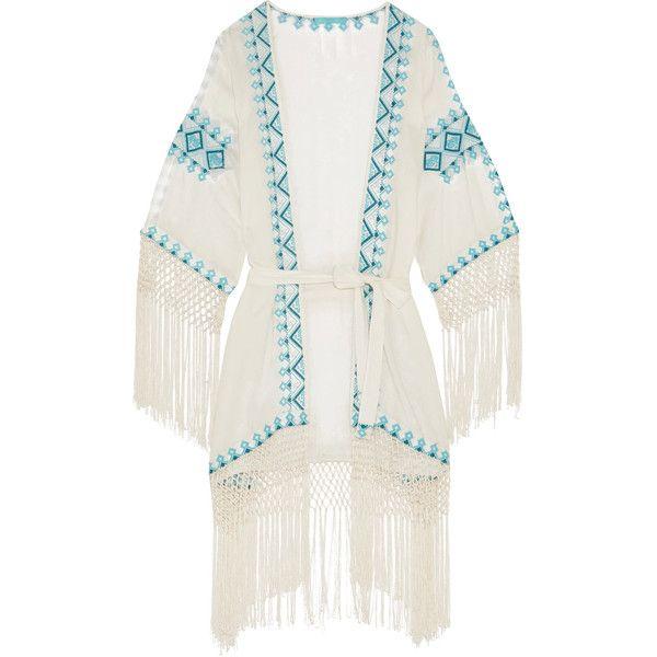 Melissa Odabash Dana embroidered voile robe (4.453.915 IDR) ❤ liked ...