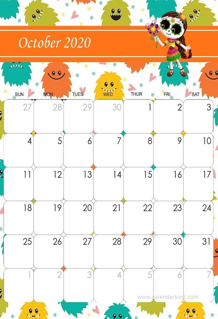 Cool Calendar Printable By Month 2020 October Halloween For School October 2020 Calendar Halloween Theme in 2020 | Cute calendar