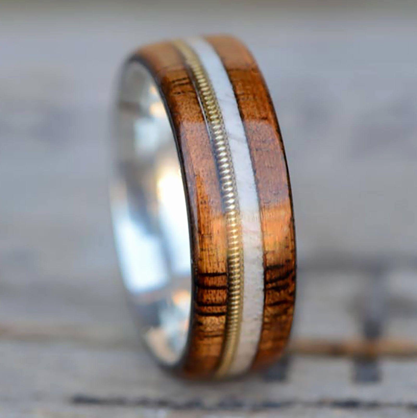 Elk ivory wedding rings unique men s wedding engagement