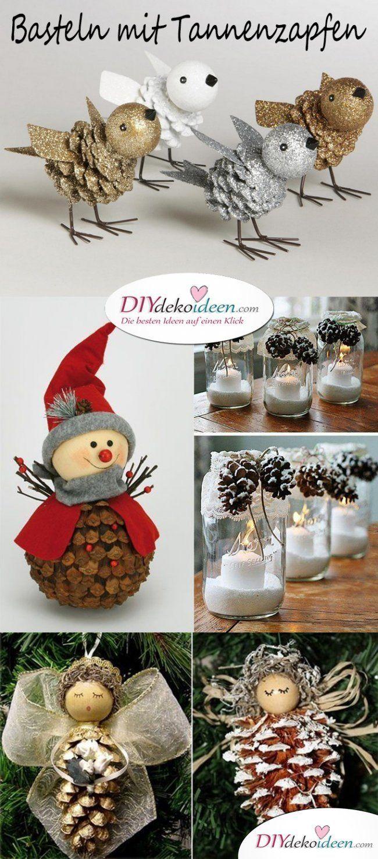 Weihnachtsdeko basteln mit Tannenzapfen – Wundervolle DIY Bastelideen #kastaniendeko
