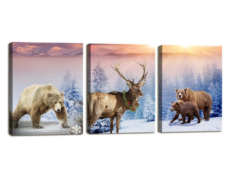 Moyedecor Art 3 Pieces Wall Art Paintings Bear And Deer In Winter Snow Mountain Landscape Art Prints O Landscape Art Prints Canvas Art Prints 3 Piece Wall Art