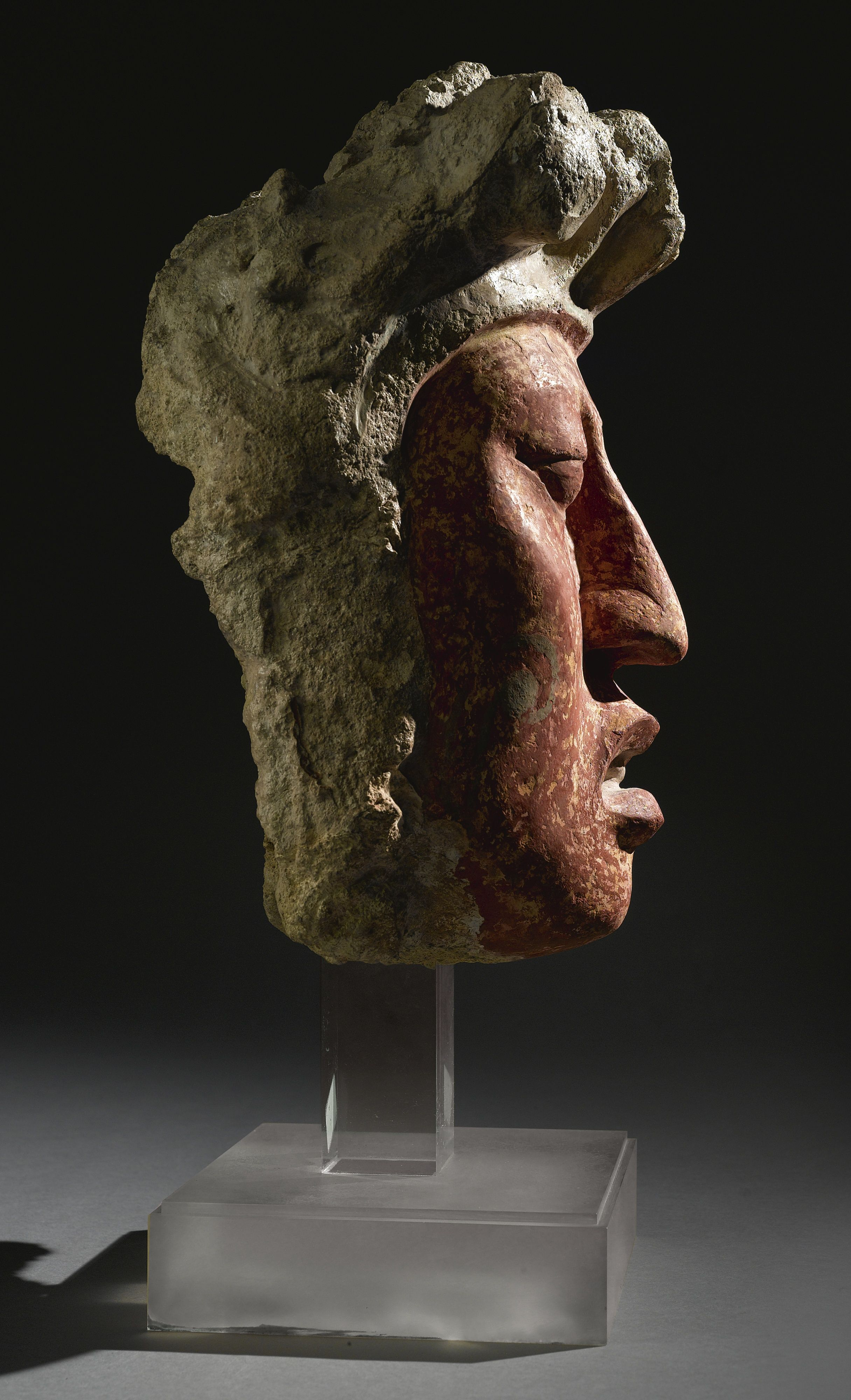 Large Maya Painted Stucco Head,<br>Late Classic, ca. A.D. 550-950   Lot   Sotheby's
