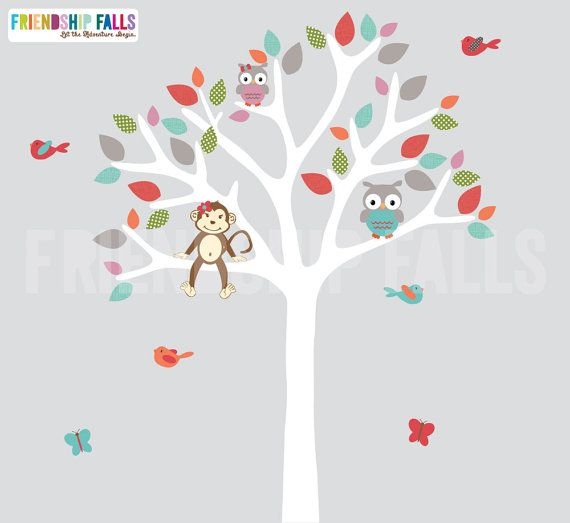 Jungle Decals, Jungle Wall Decals, Nursery Wall Decal, Monkey decal, owl decal, Friendship Falls wall decal, Molly Retro Circus/White Tree