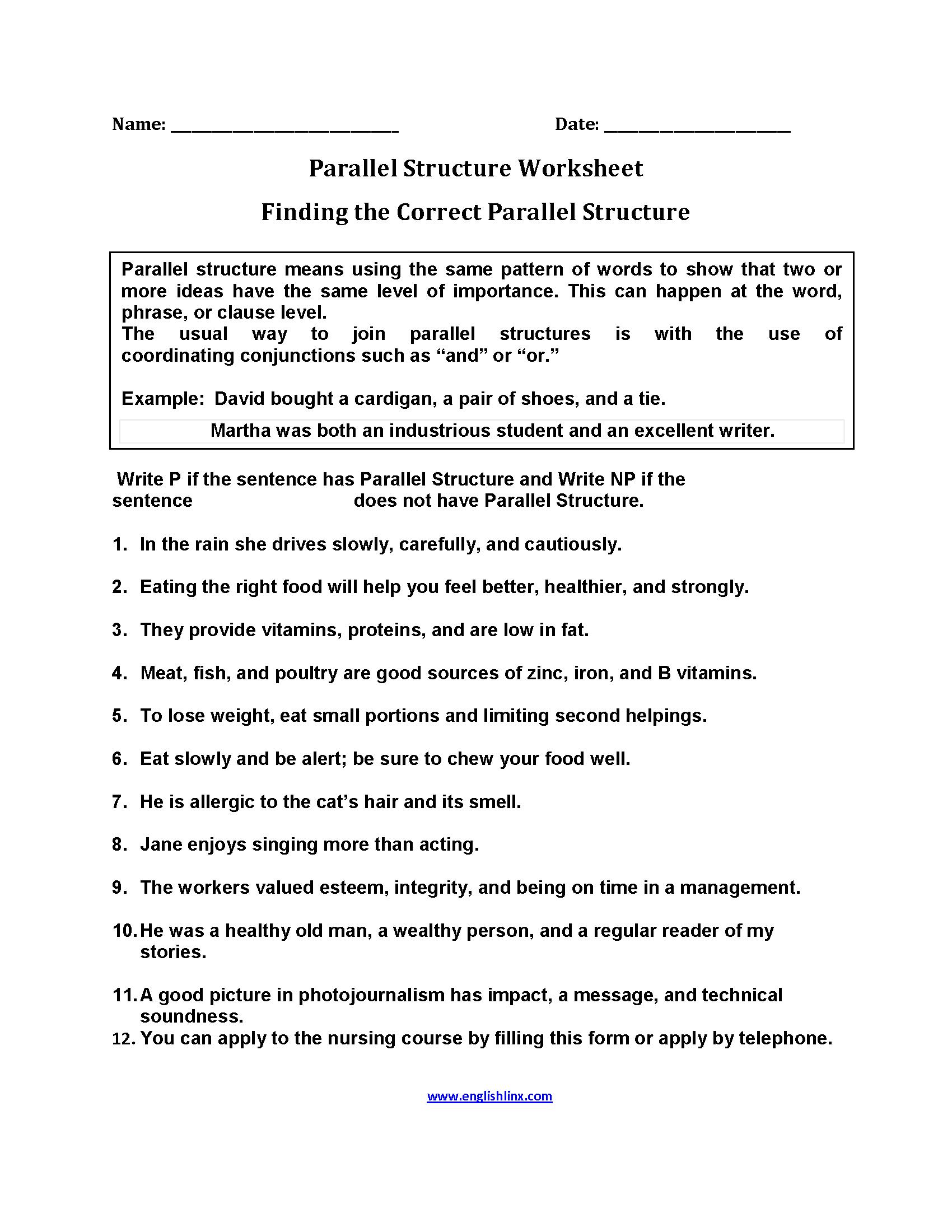 medium resolution of Finding Parallel Structure Worksheets   Text structure worksheets