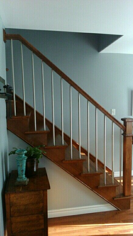 Stainless Steel Balusters With Craftsmen Square Newel Post. Stair Banister, Stairs  Balusters, Banisters