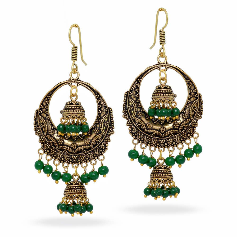 d50609445 Oxidised Gold Plated Ethnic Chandelier Earring Jhumka Jhumki Pair Free  Shipping #Unbranded