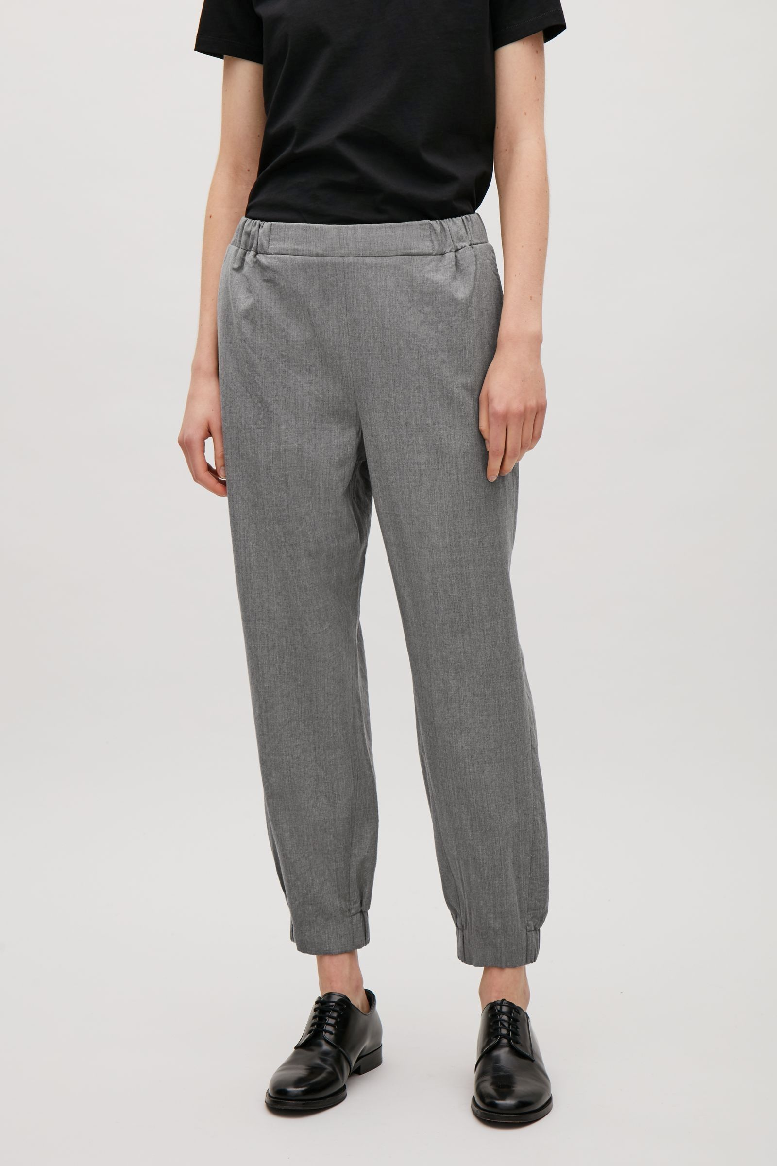 COS image 7 of Elastic waist & cuff trousers in Grey