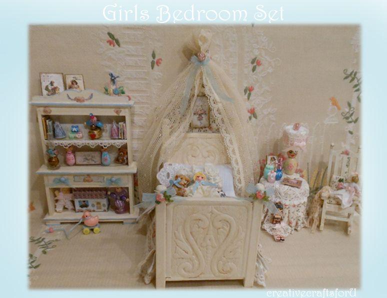 Girls bedroom Set Miniature Bedrooms and Beds Pinterest Girls