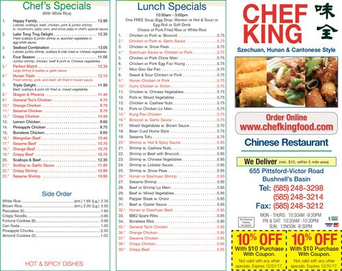 Chef King Now Offering 10 Off A 10 Purchase Lunch Specials Garlic Sauce For Chicken Pork Fried Rice