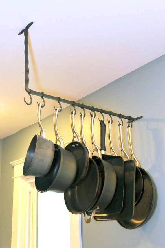 Pot Rack Twisted Ceiling And Wall Mount Attached Hooks