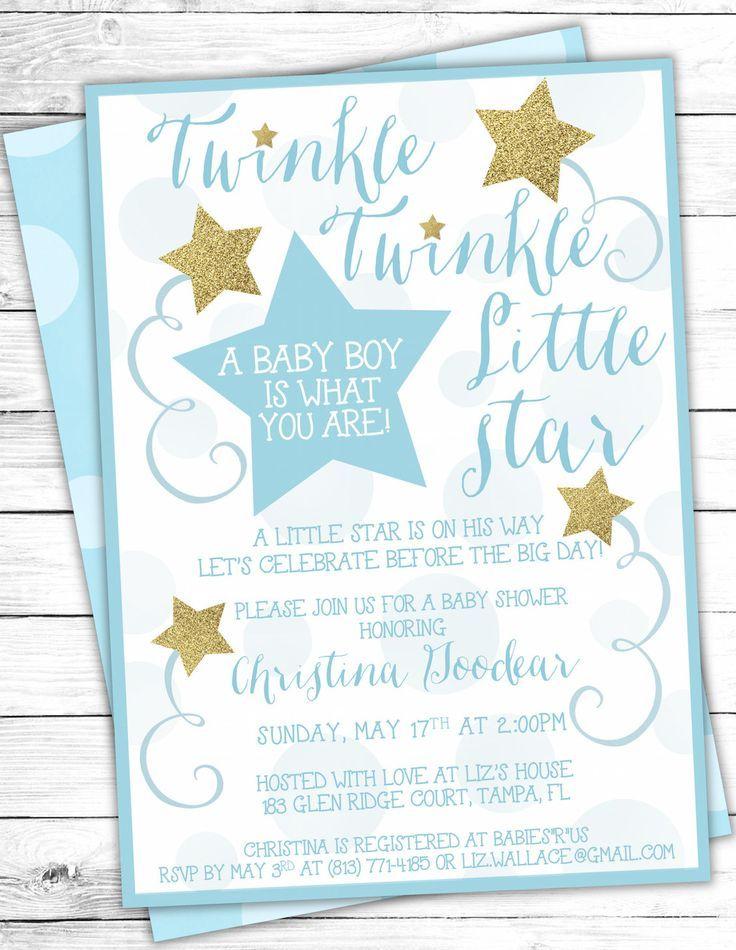Blue Gold Twinkle Twinkle Little Star Baby Shower Invites | twinkle ...