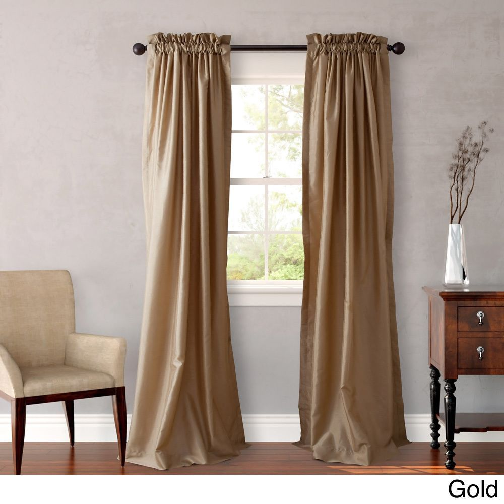 heritage landing 96 inch faux silk lined curtain pair by