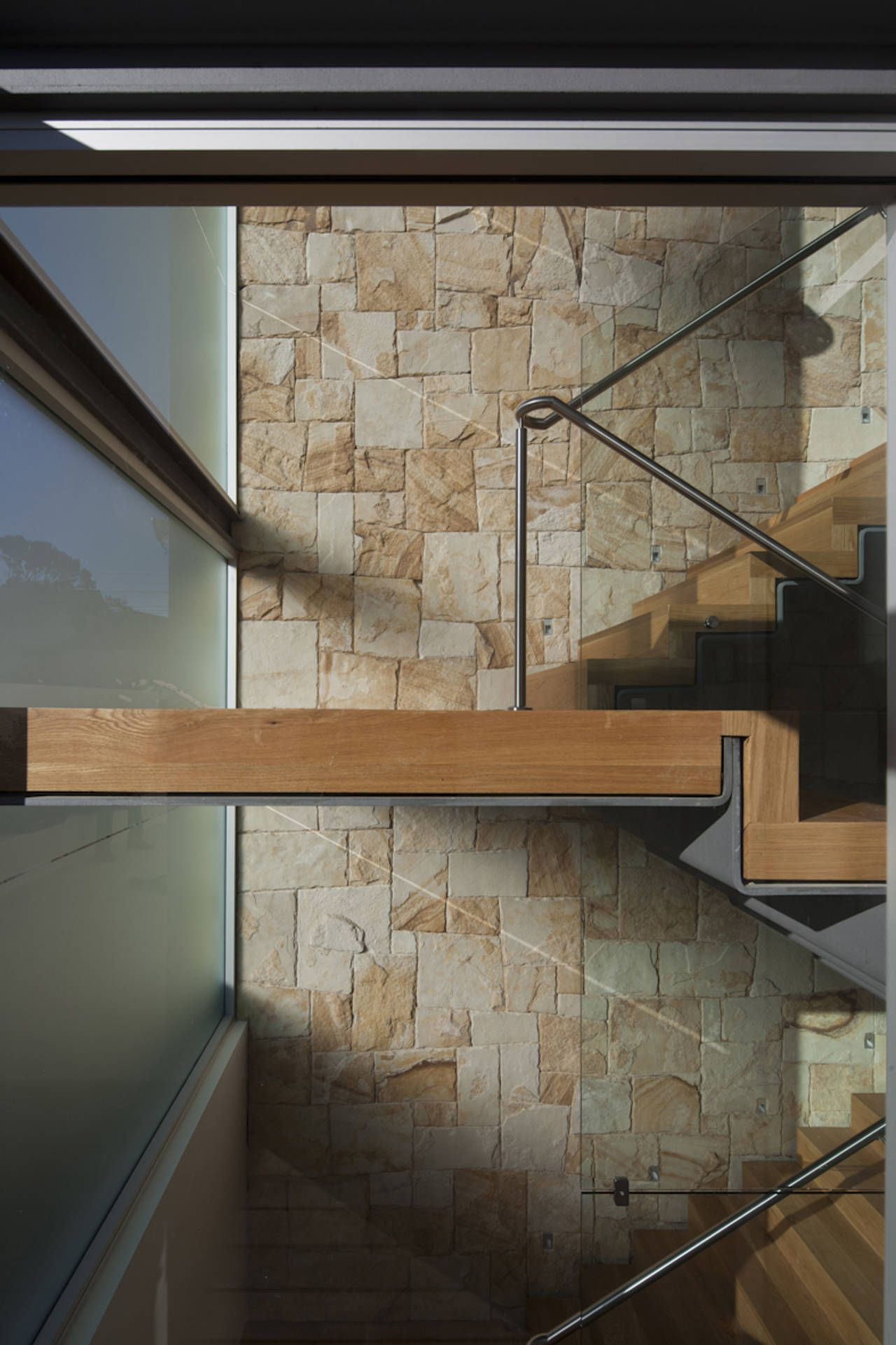 """Vaucluse House - MPR Design Group (found on archdaily.com)  """"this stair landing is amazing. I like the folded steel plate topped with wood."""""""