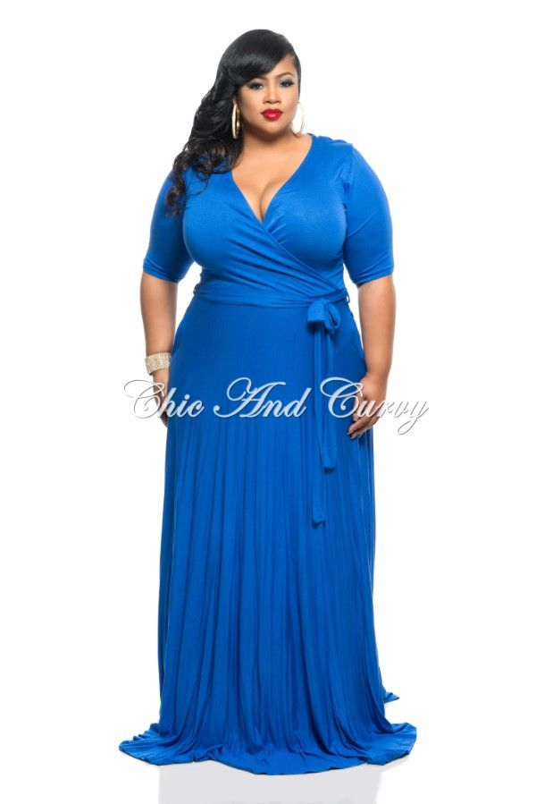 New Plus Size Long Dress W 34 Sleeve Side Pockets And Tie In