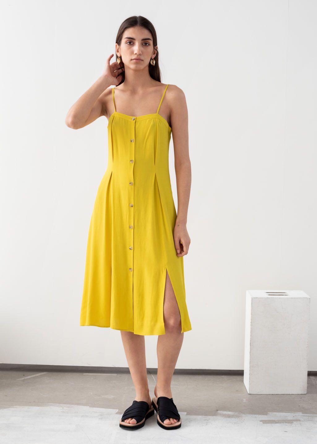 Square Neck Button Up Midi Dress Midi Dress Dresses Fashion Clothes Women [ 1435 x 1025 Pixel ]