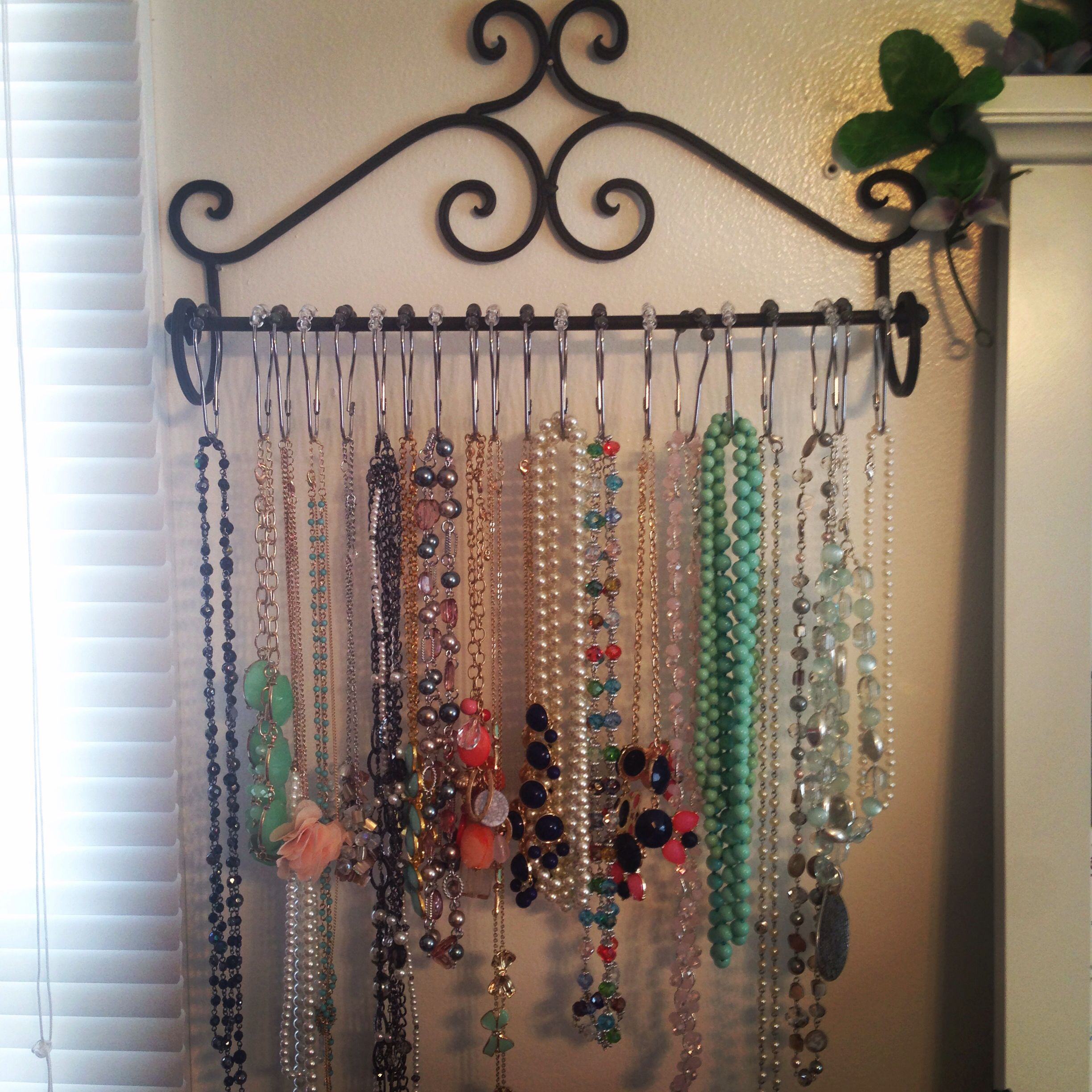 Big Pinterest Inspired Project Necklaceorganization Towel Rack From Hobbylobby Clearance For 5 99 Jewerly Organizer Necklace Scarf Organization