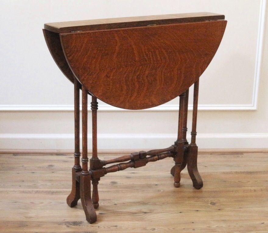 Rare Narrow Antique English Oak Drop Leaf Gate Leg Round Top