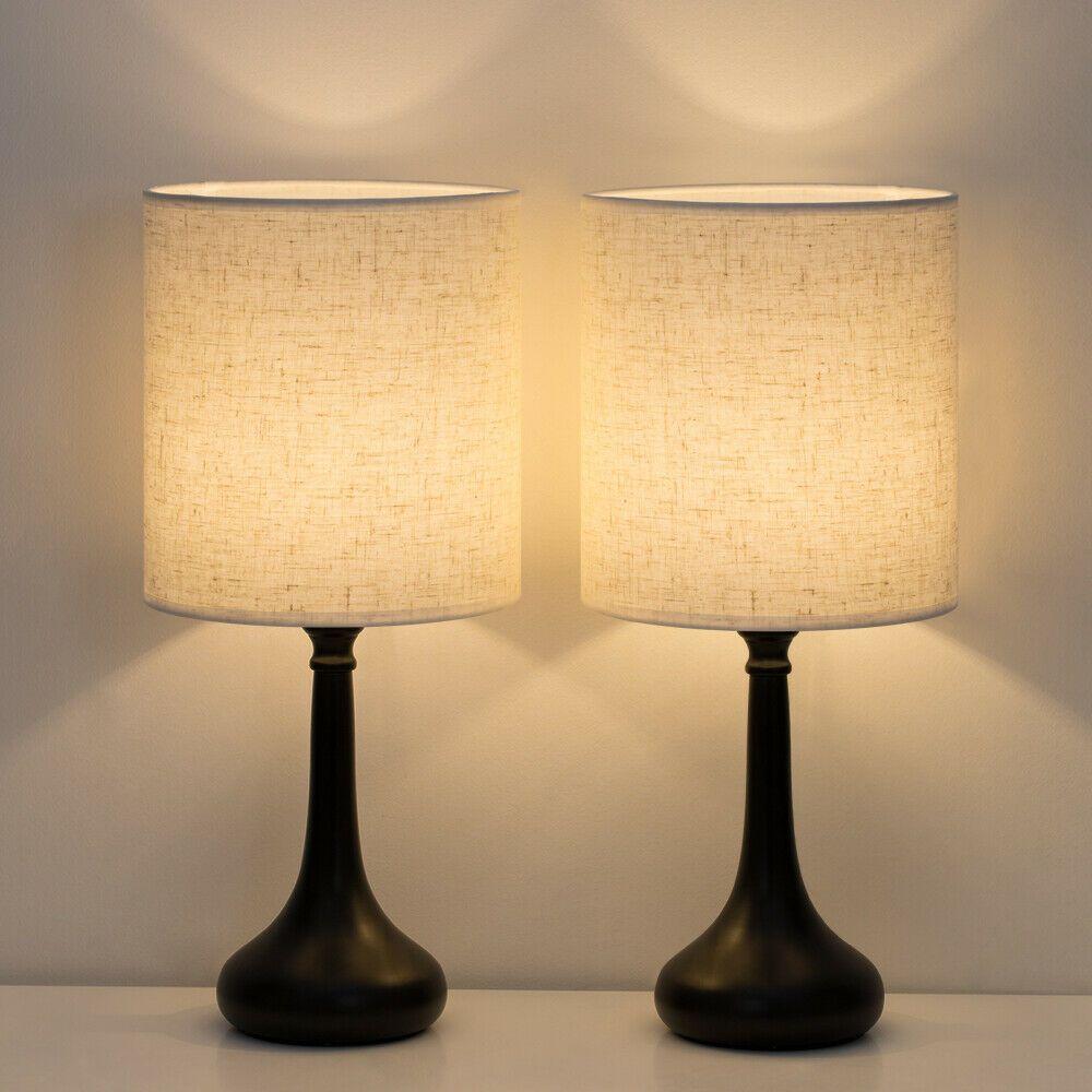 2 Pcs Table Lamp Bedroom Desk Lamp Minimalist Modern Night Light Fabric Shade Bedroom Lamps Ideas Of Bedr Nightstand Lamp Modern Desk Lamp Table Lamp Sets
