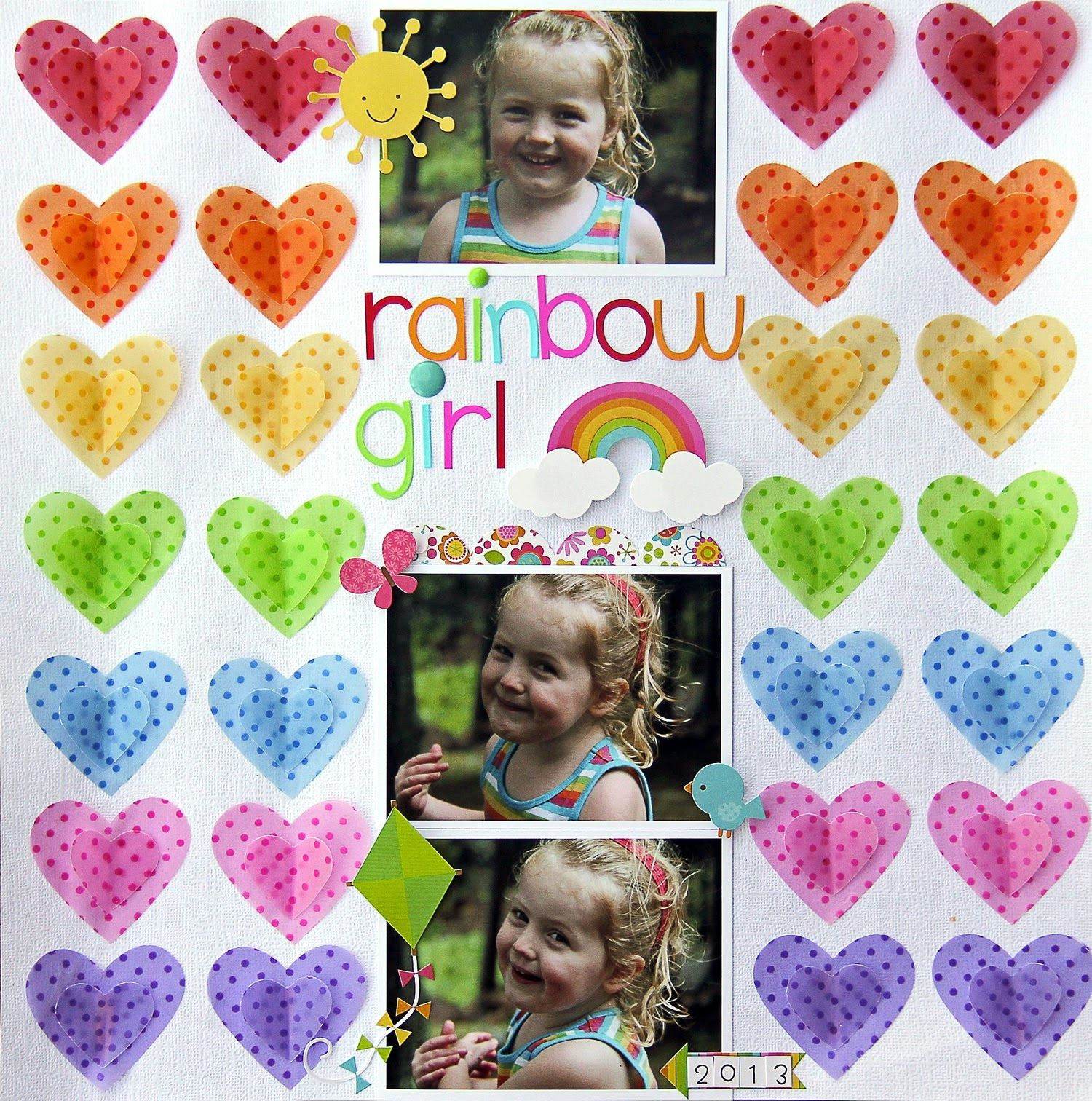 Scrapbook ideas rainbow - Vellum Rainbow Of Colored Vellum Layouts