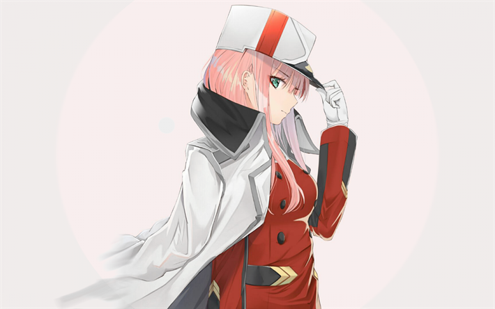 Download wallpapers Zero Two, uniform, manga, art, DARLING