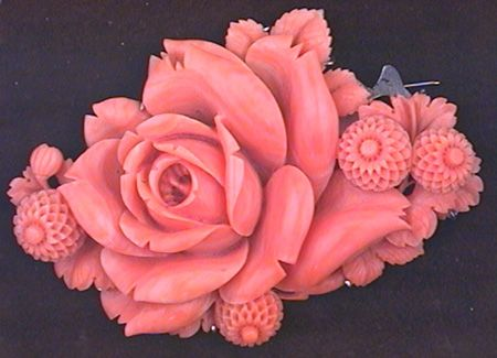 Carved Pink Coral Brooch