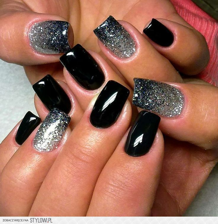 Black nails with black/ silver sparkly - ♥PP♥ 745 BLACK & SILVER SPARKLE PERFECTLY POLISHED