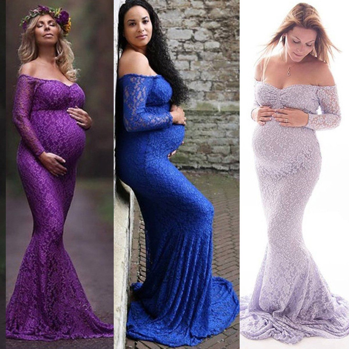 Maternity dress for wedding guest    Pregnant Women Off Shoulder Lace Long Maxi Dress Maternity