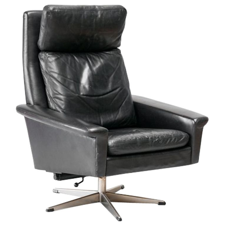 Mid Century Black Leather Swivel Chair