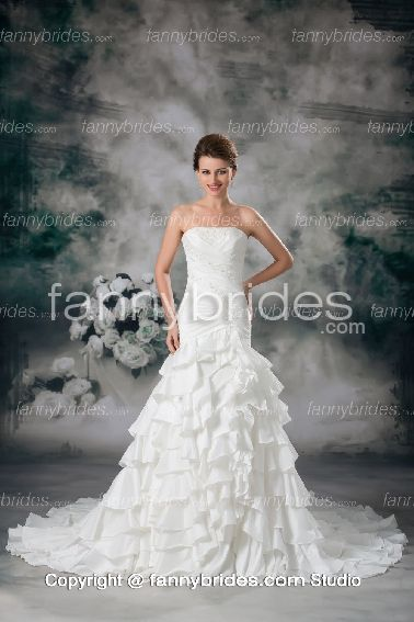 Affordable Applique Ruffles Garden Bridal Gown