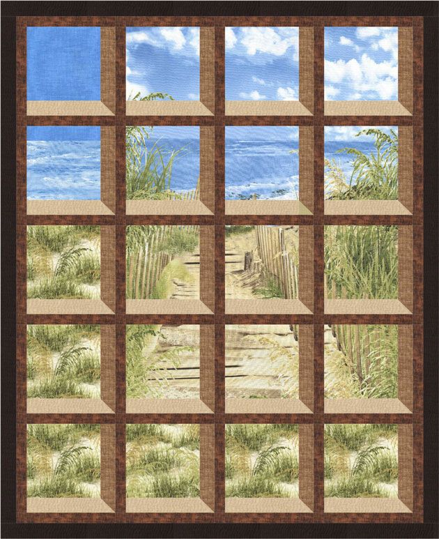Christmas Attic Window Quilt Pattern.Timeless Treasures Beach Haven Gulf Breeze Quilting