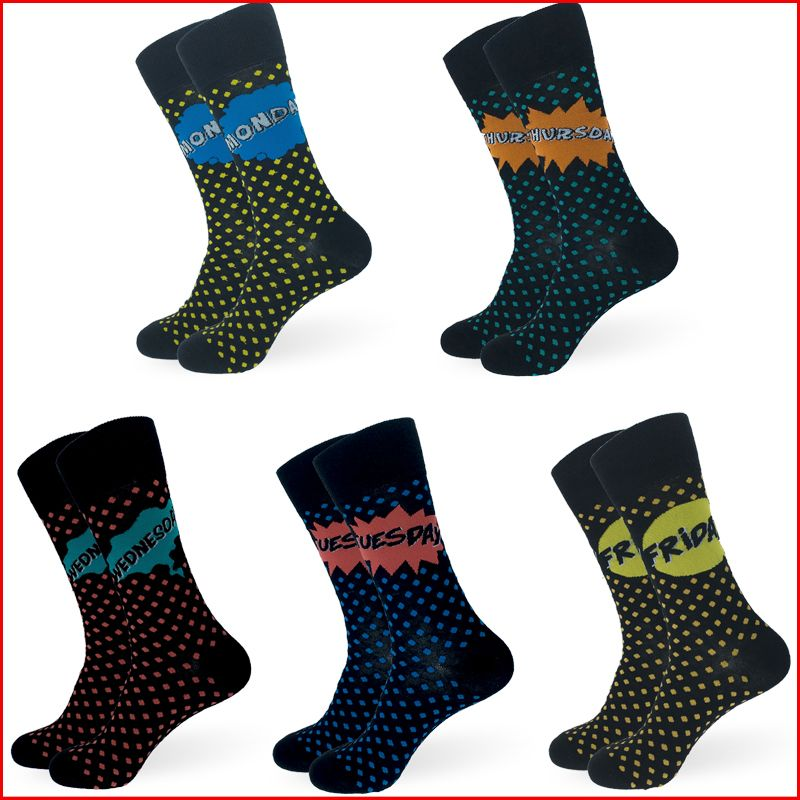 Days Of The Week Socks Men Polka Dots Happy Socks Monday Tuesday Wednesday Thursday