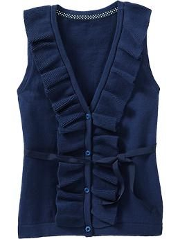 Girls Ruffled Sweater Vests   Old Navy  I need to make this in navy fleece for Selah.