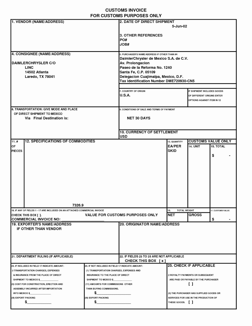 Customs Commercial Invoice Template Amandaeca Within