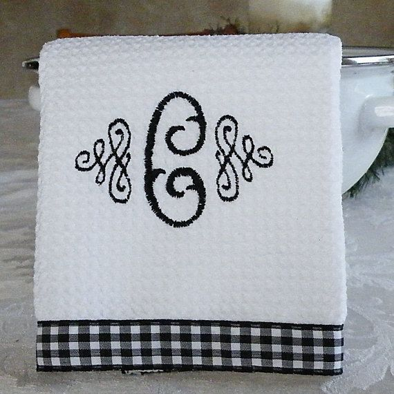 Monogrammed Kitchen Towel Dish Personalized Hand