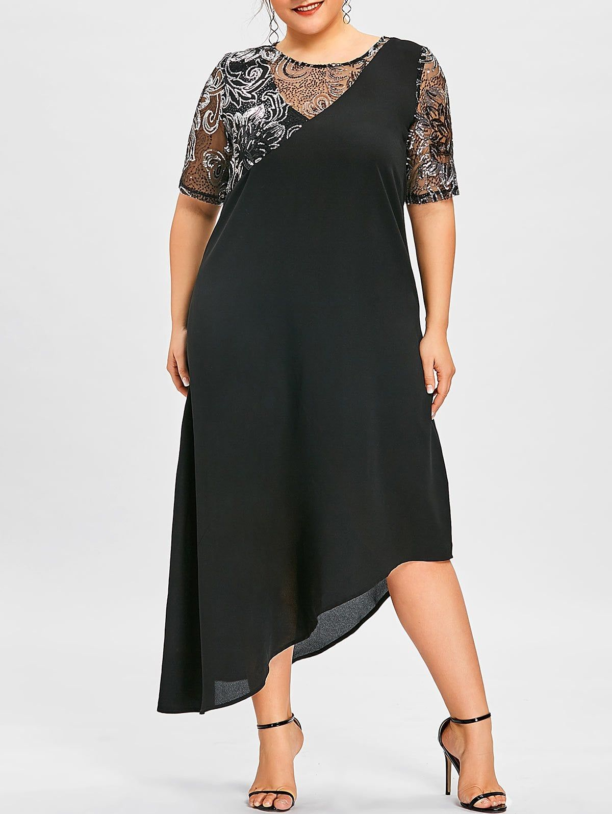 Plus Size Sequined Asymmetric Flowing Dress in 2019 ...